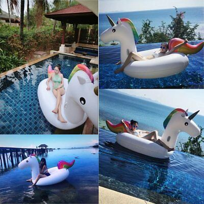 Inflatable PVC Unicorn Rainbow Pool Float Outdoor Swimming Water Raft Supersize