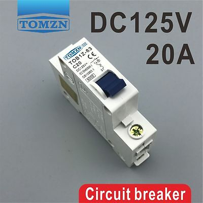 1P 20A 20Ampere DC 125V Circuit breaker MCB direct-current C curve