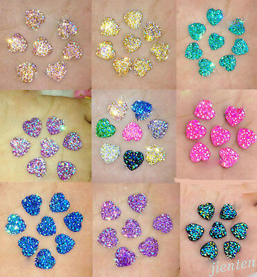 New 20/50pc Colorful Resin Bling Heart Cabochons Flatback Beads Finding 12MM DIY