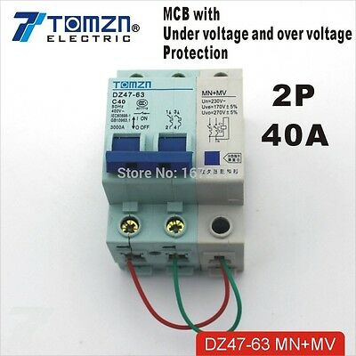 2P 40A MV+MN 400V~ 50HZ/60HZ MCB with over voltage and under voltage protection