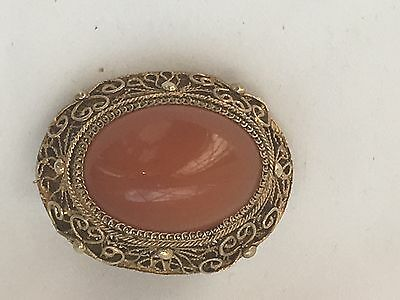 antique/ vintage Chinese silver gilt Carnelian  brooch