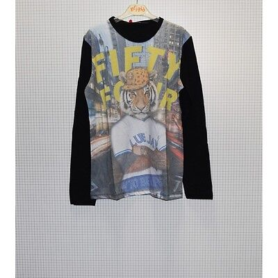 Fifty Four T-Shirt Manica Lunga Stampa Tigre Cappello