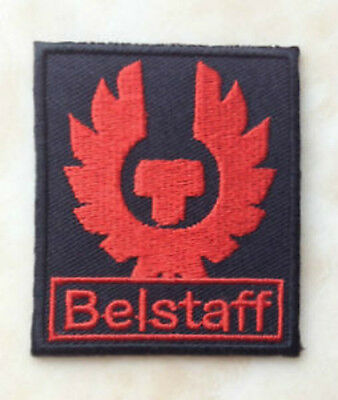 BELSTAFF Patch 6cm Black + Red Iron-On Embroidered Badge Applique Toppa Bordado
