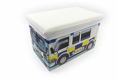 2 in 1 FOLD AWAY KIDS STORAGE BOX WITH PADDED SEAT BEDROOM PLAYROOM POLICE VAN