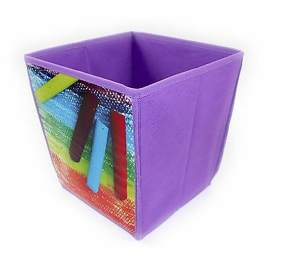 Cube Shaped Waste Paper Bin,purple Crayon Design Bedroom, Playroom, Kids, Gift