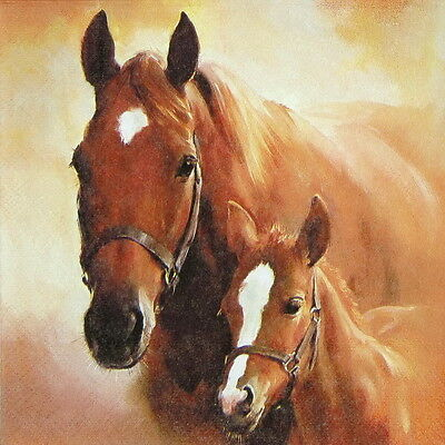 4x Paper Napkins for Decoupage Decopatch Horse with Foal