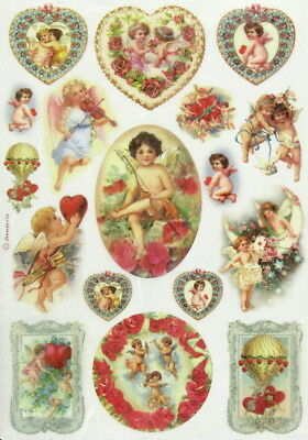 Rice Paper for Decoupage, Scrapbooking Sheet Angels and Hearts