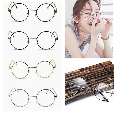 Women Men Large Oversized Metal Frame Clear Lens Round Circle Eye Glasses Nerd U