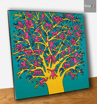 Keith Haring The Tree of Monkey Stampa su Tavola MDF Quadro Pannello Fine Art