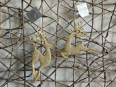 Gisela Graham Christmas gold glitter reindeer decorations set of two