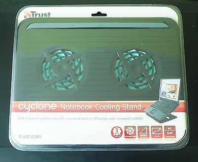 Trust Cyclone Notebook Laptop Cooling Stand 2 Fans 17866 NEW