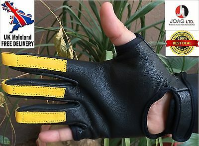 Quality Genuine Cow Hide Real Leather Archery Gloves Shooting Gloves. Right Hand