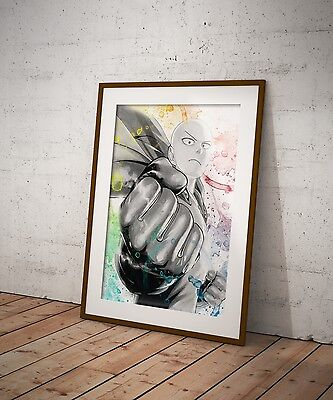 One Punch Man Anime Poster Wall Art Genos Saitama Watercolor Print Anime Gift m2