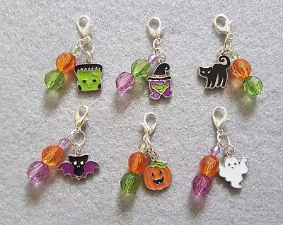 Handcrafted Enamel Halloween Cat Collar Charms with Beads Themed Clip on Bling