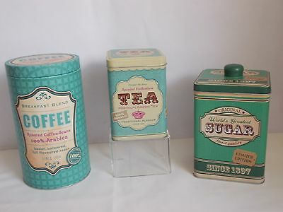 MIXED SET x 3 METAL TIN KITCHEN STORAGE CANISTERS TEA COFFEE SUGAR SHABBY CHIC