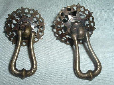 Pair of Vintage Victorian Brass Drawer Pull Knobs Beautiful Condition