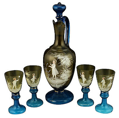 Fine 19thC Mary Gregory Enamel Painted Blown Art Glass Decanter Set