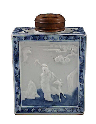 18th Century Chinese Porcelain Tea Caddy w/ Character Scene