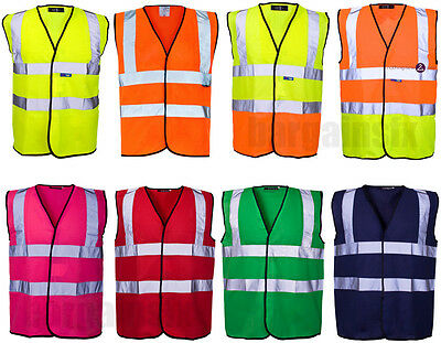 Hi Viz Vis Visibility Security Work Vest Two Tone Safety Waistcoat Colours Sizes