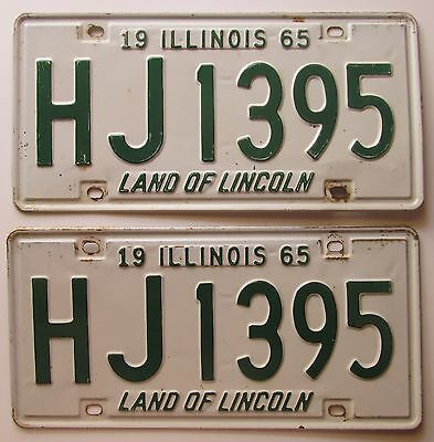 Illinois 1965 License Plate PAIR - NICE QUALITY # HJ1395