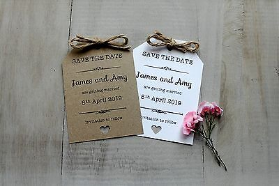 50 Personalised Magnet Wedding Save The Date Vintage/Shabby Chic Rustic Tags