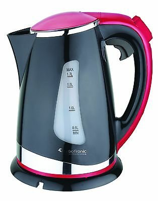 TurboTronic 1.7L Cordless Electric Kettle 2200W Fast Boil 360° EK-01 BLACK/RED
