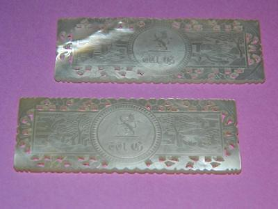 2 x ANTIQUE CHINESE CARVED FRETTED PIERCED MOTHER OF PEARL MONOGRAM GAMING CHIPS