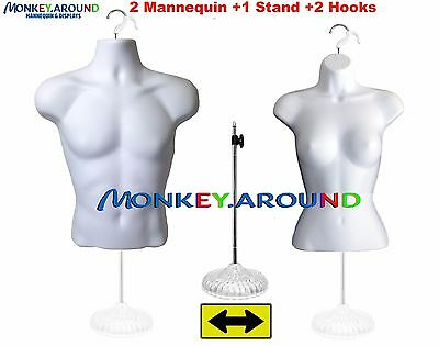 2 MANNEQUIN 1 STAND 2 HOOK - Male Female White Dress Body Form, Display Clothing