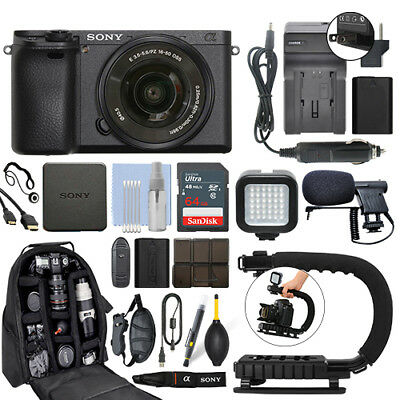 Sony Alpha a6300 Mirrorless Digital Camera with 16-50mm Lens+ 64GB Pro Video Kit