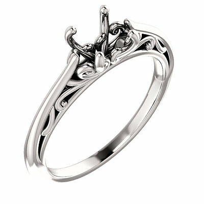 14k White Gold Setting Semi Mount Engagement Ring for Round Diamond Vintage