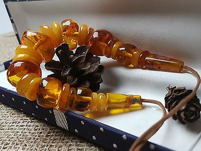 Natural Old 30.16 gr. Butterscotch Egg Yolk Baltic Amber Beads Necklace