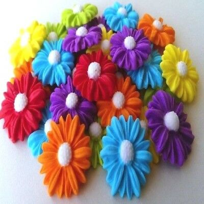 25 edible sugar daisies cake cupcake toppers decorations bright colours