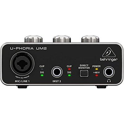 U-PHORIA UM2 2x2 USB Audio Interface Recording Microphone Instrument Equipment