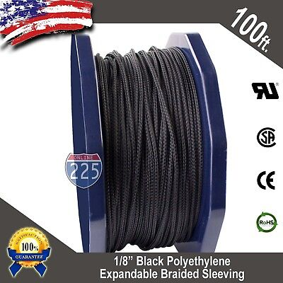 "100 FT 1/8"" Black Expandable Wire Cable Sleeving Sheathing Braided Loom Tubing"