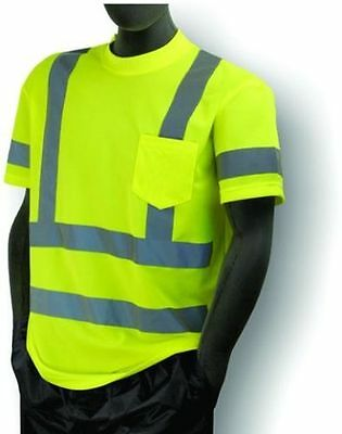 ANSI Mens Class 3 Wicking Snag Resistant Safety Pocket T-Shirt Reflective 5XL