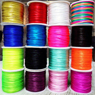 70Meter 1.5mm Hot Chinese Knot Satin Nylon Braided Macrame Beading Rattail Cord