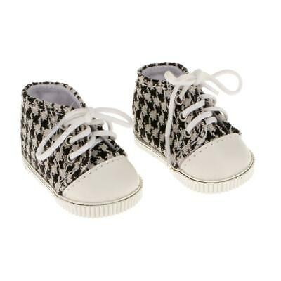 "Houndstooth Sneakers Shoes for 18"" American Girl Our Generation My Life Doll"