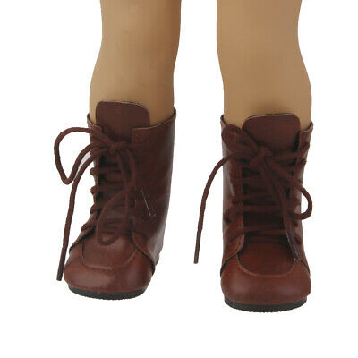 """Brown Lace Up Boots Shoes for 18"""" American Girl /Our Generation Journey/Doll"""