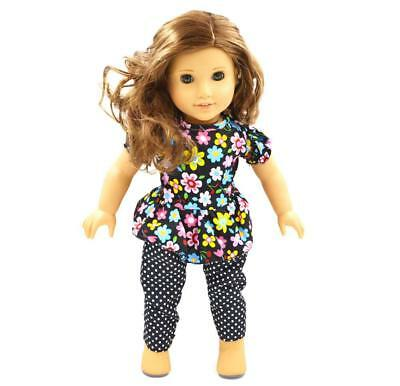 "Handmade Flower Top Pants Clothes for 18"" American Girl Dolls Party Outfit"