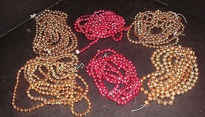Vintage Mercury Glass Christmas Garlands - Gold & Red - 519""