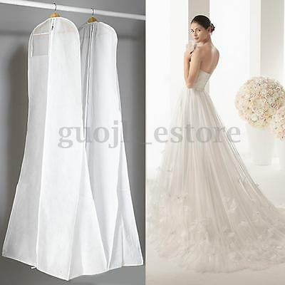White Large Bridal Dress Garment Storage Bag Wedding Party Protector Cover US