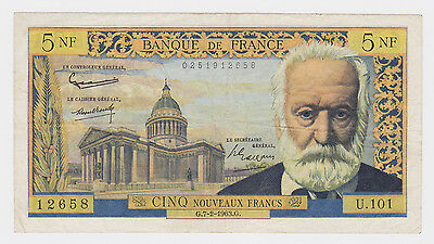 Banque de France 7-2-1963 Five Nouveaux francs bank note Circulated Good colour