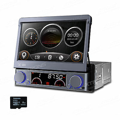 "GPS Navigation Map 1DIN Car Stereo CD/DVD Player 7"" Flip Up Radio Screen Mirror"