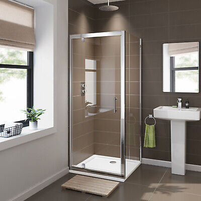 Square Pivot Door Shower Screen Enclosure+Glass Side Panel Reversible Cubical