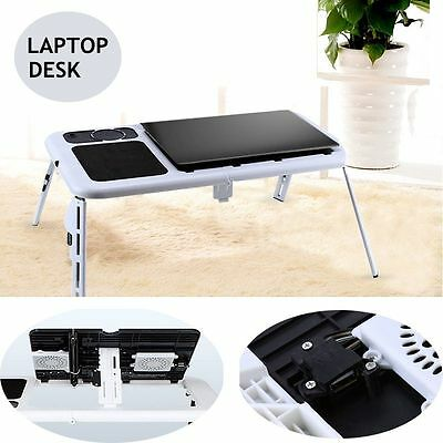 Protable Laptop Desk Foldable Table Bed with USB Cooling Fans Stand TV Tray AU