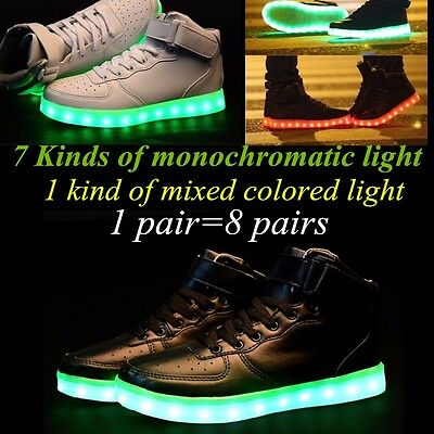 LED Night Light Couples Men Women Lovers Light Up Trainer Lace Up Shoes 35-46