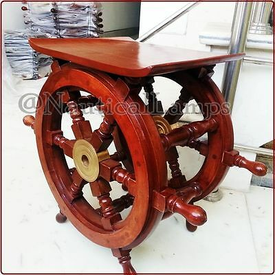 """Solid Wood Brass Ship Wheel Table 18"""" Nautical Decorative Antique Style Furnitur"""