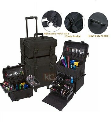Maxx PROFESSIONAL CANVAS NYLON BEAUTY TROLLEY CASE 3 STYLES MAKE UP JEWELLRY NAI