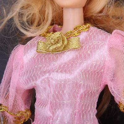 Princess Wedding party Gown Gold trim flower Dress for Barbie Doll clothes