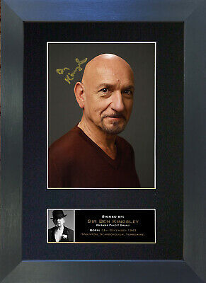 BEN KINGSLEY Signed Mounted Autograph Photo Prints A4 341